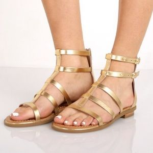 Seychelles | Peachy Gold Metallic Gladiator Sandal